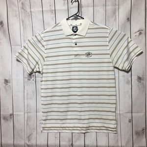 FootJoy FJ Striped Polo Golf Shirt Mens L Stretch